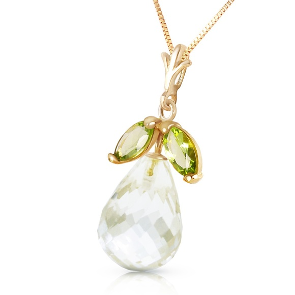 Galaxy Gold Products Jewelry - NECKLACE WITH NATURAL PERIDOTS & WHITE TOPAZ